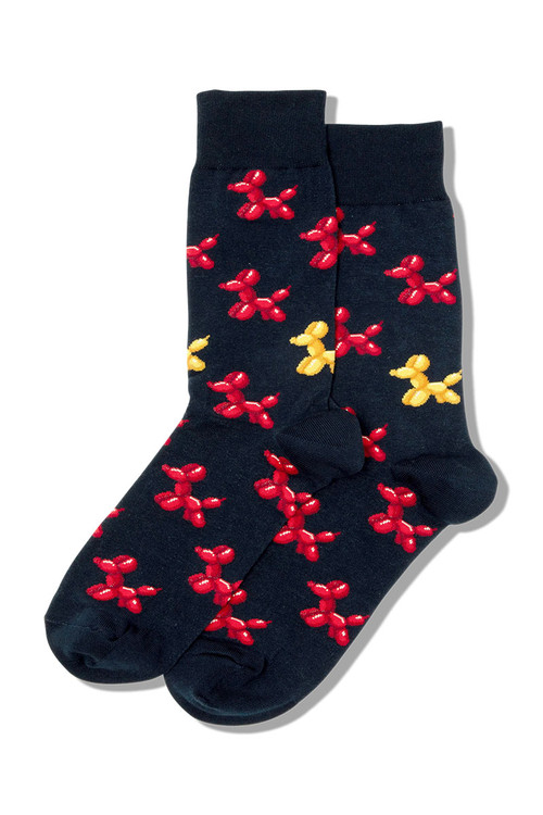 Hot Sox Balloon Dogs Crew Socks HSM10008 - Mens Socks - Front View - Topdrawers Footwear for Men