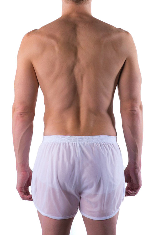 Go Softwear AJ Training Short 8740-WH White - Mens Athletic Shorts - Rear View - Topdrawers Clothing for Men