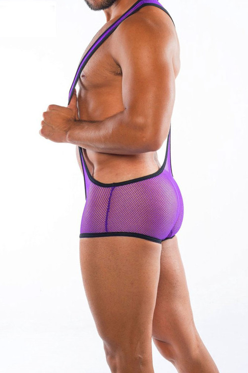 Go Softwear Hard Core XXX H Plunge Singlet 4460-PL Purple - Mens Fetish Mesh Wrestler Singlets - Side View - Topdrawers Underwear for Men