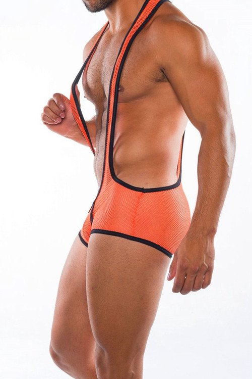 Go Softwear Hard Core XXX H Plunge Singlet 4460-OR Orange - Mens Fetish Mesh Wrestler Singlets - Side View - Topdrawers Underwear for Men