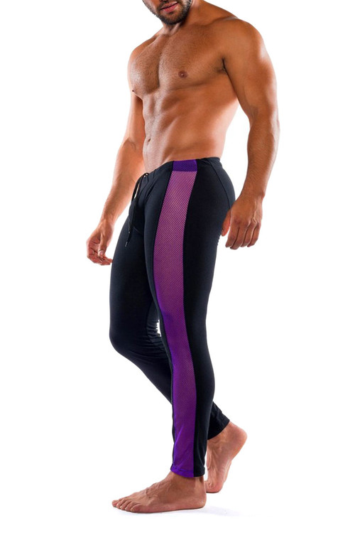 Go Softwear Hard Core XXX H Tights 4467-PL PurpleBL - Mens Fetish Long Underwear - Side View - Topdrawers Underwear for Men