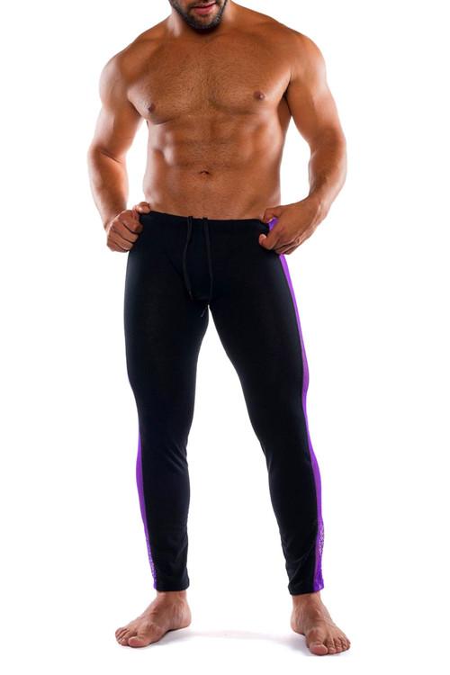 Go Softwear Hard Core XXX H Tights 4467-PL PurpleBL - Mens Fetish Long Underwear - Front View - Topdrawers Underwear for Men