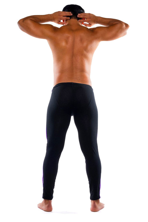 Go Softwear Hard Core XXX H Tights 4467-PL PurpleBL - Mens Fetish Long Underwear - Rear View - Topdrawers Underwear for Men