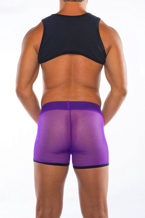 Go Softwear Hard Core XXX H Harness 4461-PL Purple - Mens Fetish Mesh Harnesses - Rear View - Topdrawers Clothing for Men