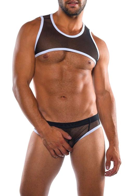 Go Softwear Hard Core Skin Harness 4477-BL Black - Mens Fetish Mesh Harnesses - Front View - Topdrawers Clothing for Men
