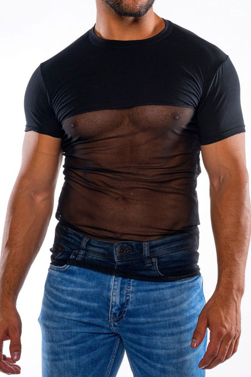 Go Softwear Hard Core Skin Sauve Tee 4475-BL Black - Mens Fetish Tops - Front View - Topdrawers Clothing for Men