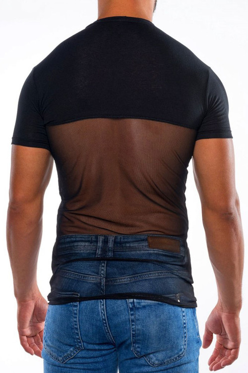 Go Softwear Hard Core Skin Sauve Tee 4475-BL Black - Mens Fetish Tops - Rear View - Topdrawers Clothing for Men