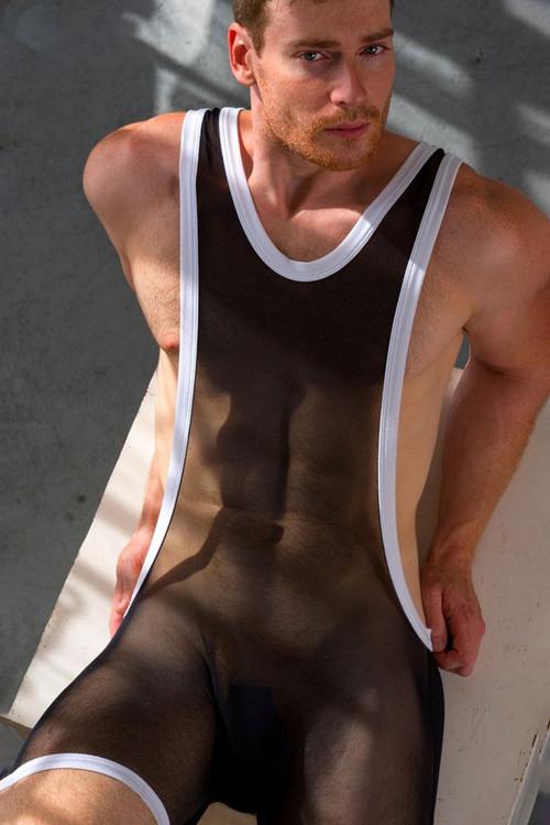 Go Softwear Hard Core Skin Bruno Singlet 4478-BL Black - Mens Fetish Wrestler Singlets - Model View - Topdrawers Underwear for Men