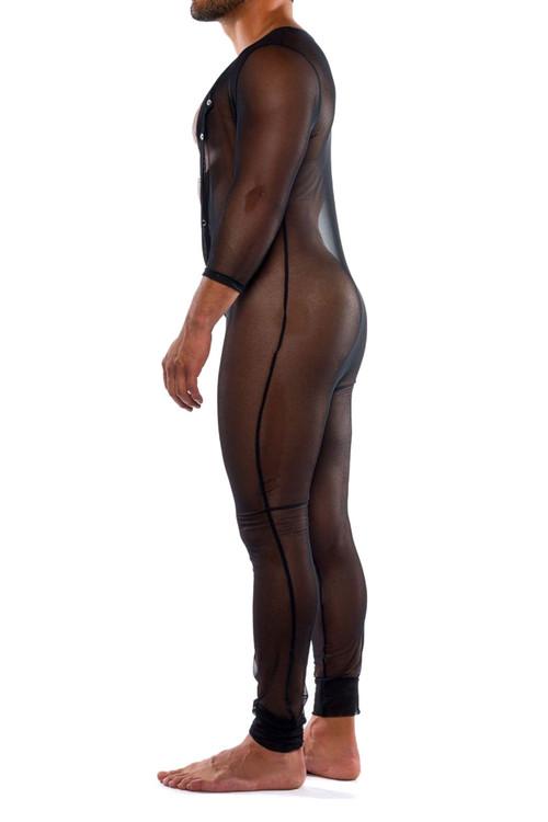 Go Softwear Hard Core Skin Duke Body Suit 4476-BL Black - Mens Onesies - Side View - Topdrawers Underwear for Men
