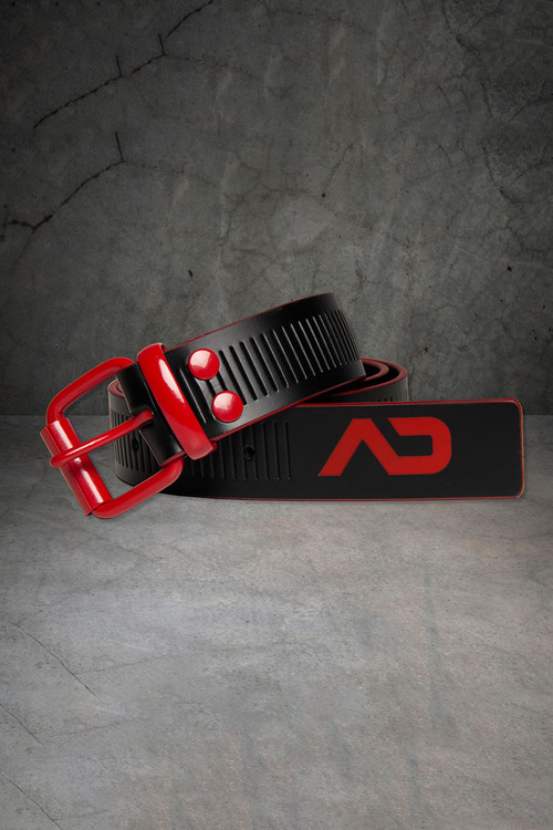 Addicted Fetish AD Fetish Leather Belt ADF120-RD Red - Mens Accessories - Front View - Topdrawers Clothing for Men