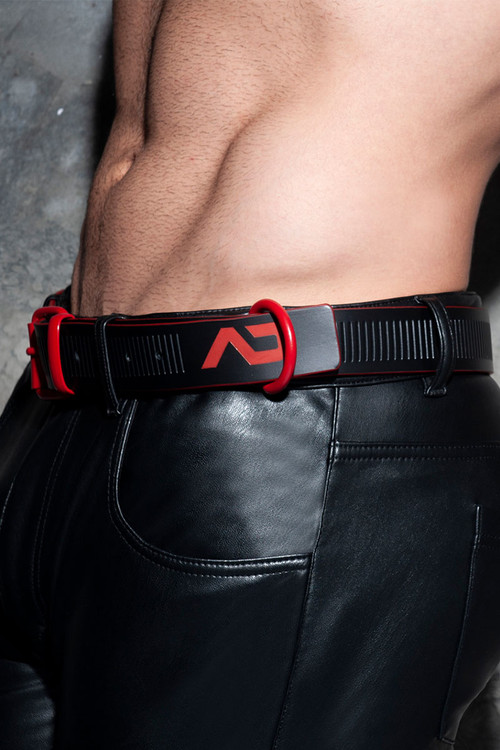 Addicted Fetish AD Fetish Leather Belt ADF120-RD Red - Mens Accessories - Side View - Topdrawers Clothing for Men