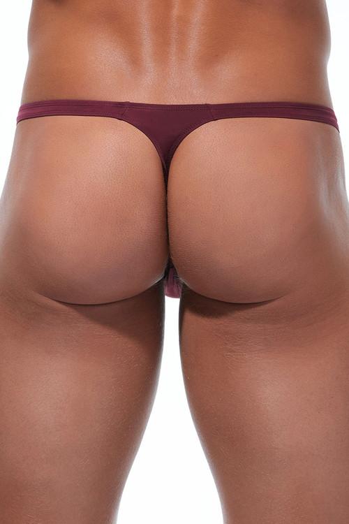 Gregg Homme Wonder Thong 96104-BUR Burgundy - Mens Thongs - Rear View - Topdrawers Underwear for Men
