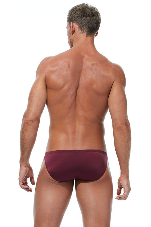 Gregg Homme Wonder Brief 96103-BUR Burgundy - Mens Briefs - Rear View - Topdrawers Underwear for Men