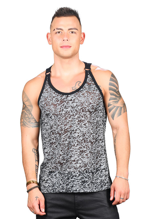 Andrew Christian Hardware D-Ring Burnout Tank 2760 - Mens Tank Tops - Front View - Topdrawers Clothing for Men