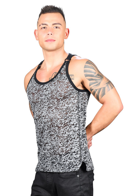 Andrew Christian Hardware D-Ring Burnout Tank 2760 - Mens Tank Tops - Side View - Topdrawers Clothing for Men