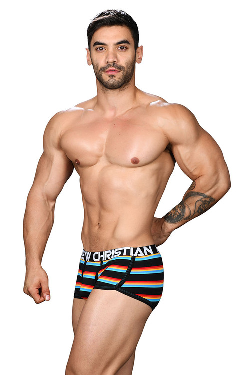 Andrew Christian California Stripe Boxer w/ Almost Naked 91427 - Mens Boxer Briefs - Side View - Topdrawers Underwear for Men
