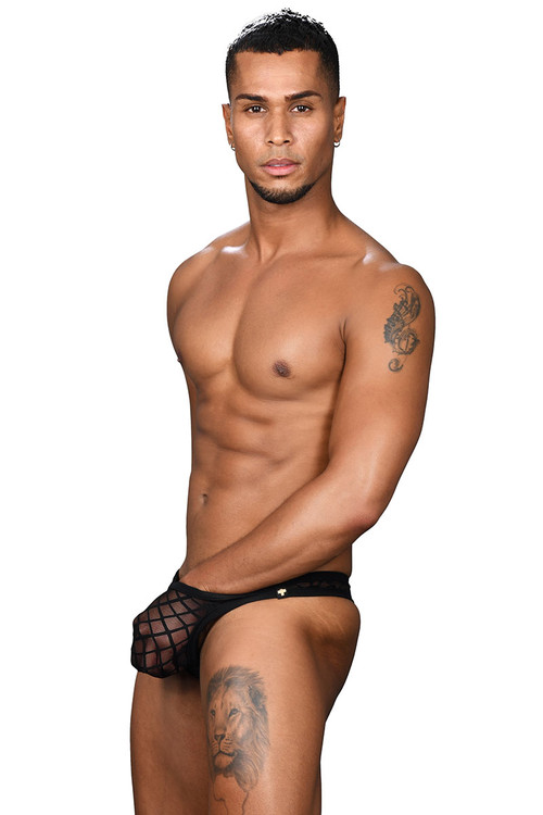 Andrew Christian Lattice Lace Sheer Arouse Thong w/ Almost Naked 91414 - Mens Thongs - Side View - Topdrawers Underwear for Men
