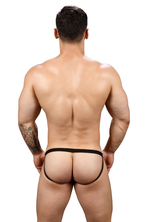 Andrew Christian Football Mesh Jock w/ Almost Naked 91385-BL Black - Mens Jockstraps - Rear View - Topdrawers Underwear for Men