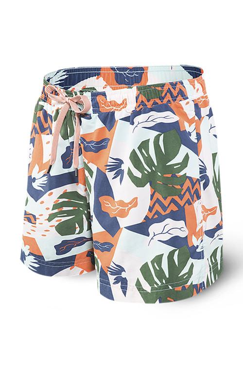 Saxx Cannonball 2N1 Swim Short 5-Inch | Aqua Cut Collage SXTS30-ACC - Mens Boardshort Swim Shorts - Front View - Topdrawers Swimwear for Men