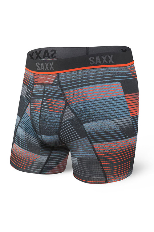 Saxx Kinetic HD Boxer Brief | Black Sonic Stripe SXBB32-SON - Mens Boxer Briefs - Front View - Topdrawers Underwear for Men