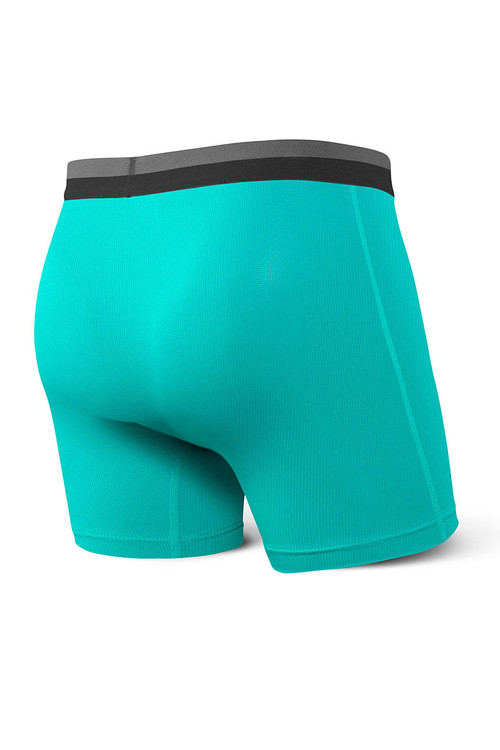 Saxx Sport Mesh Boxer Brief w/ Fly | Teal SXBB12F-TEA - Mens Boxer Briefs - Rear View - Topdrawers Underwear for Men