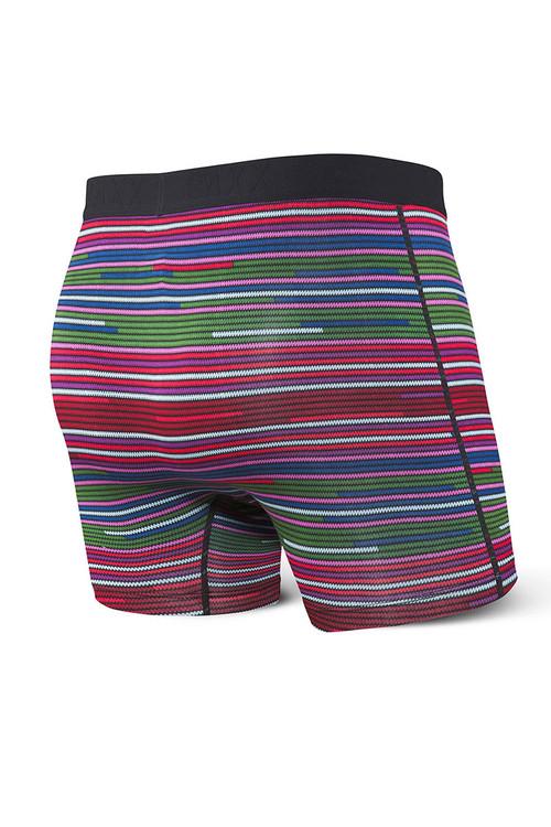Saxx Vibe Boxer Brief | Red Serape Stripe SXBM35-SSR - Mens Boxer Briefs - Rear View - Topdrawers Underwear for Men