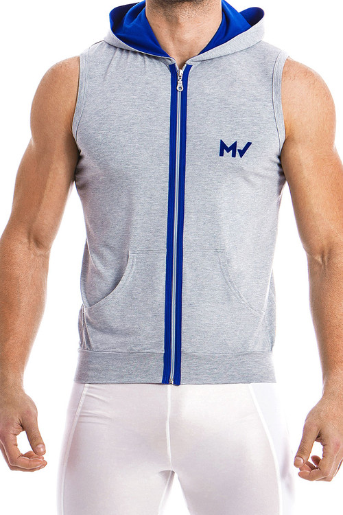 Modus Vivendi Otter Sleeveless Hoodie 11831-GR Grey -  Front View - Topdrawers  for Men
