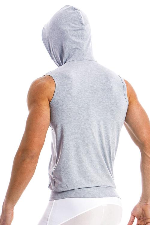 Modus Vivendi Otter Sleeveless Hoodie 11831-GR Grey -  Rear View - Topdrawers  for Men