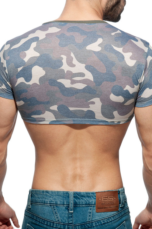 Addicted Camo Crop Top AD868-17 Camouflage - Mens Crop Top T-Shirts - Rear View - Topdrawers Clothing for Men