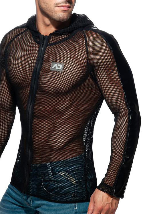 Addicted Mesh Jacket AD841-10 Black - Mens Hoodie Jackets - Side View - Topdrawers Clothing for Men