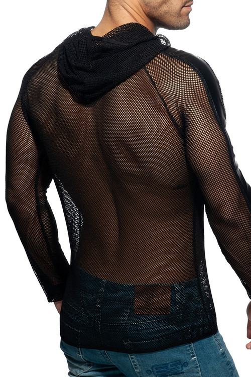 Addicted Mesh Jacket AD841-10 Black - Mens Hoodie Jackets - Rear View - Topdrawers Clothing for Men