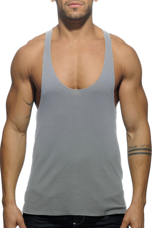 Addicted Back Logo Tank Top AD340-11 Heather Grey - Mens Tank Tops - Front View - Topdrawers Clothing for Men