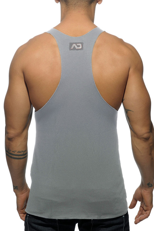 Addicted Back Logo Tank Top AD340-11 Heather Grey - Mens Tank Tops - Rear View - Topdrawers Clothing for Men