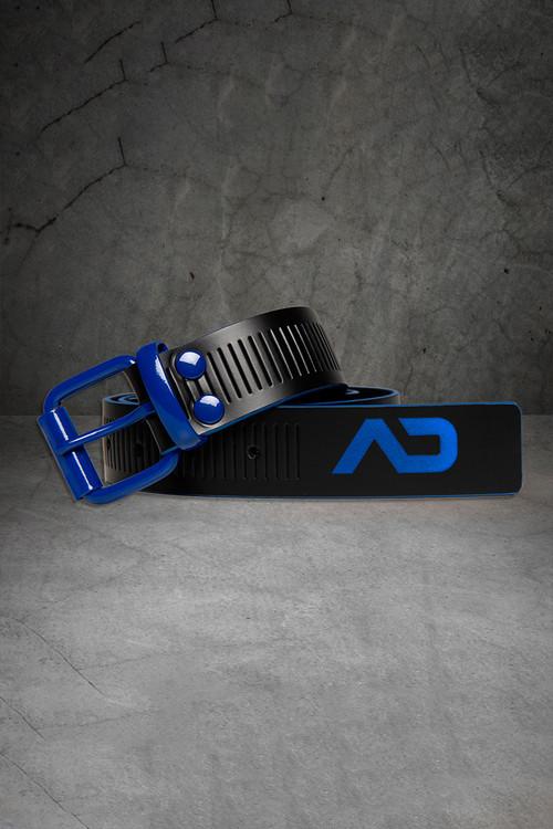 Addicted Fetish AD Fetish Leather Belt ADF120-16 Royal Blue - Mens Fetish Belts - Front View - Topdrawers Fetish Wear for Men