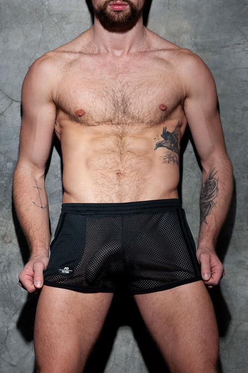 Addicted Fetish Pocket Rocky Short ADF125-10 Black - Mens Fetish Shorts - Front View - Topdrawers Clothing for Men