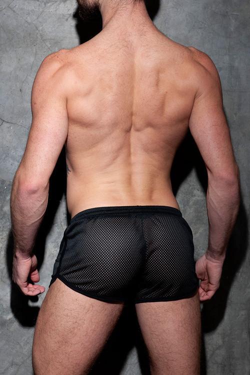 Addicted Fetish Pocket Rocky Short ADF125-10 Black - Mens Fetish Shorts - Rear View - Topdrawers Clothing for Men