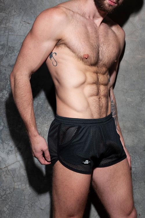 Addicted Fetish Pocket Rocky Short ADF125-10 Black - Mens Fetish Shorts - Side View - Topdrawers Clothing for Men