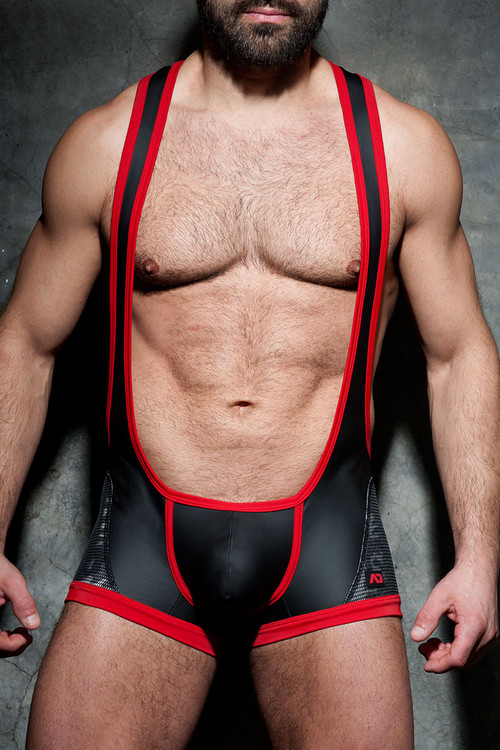 Addicted Fetish Camo Mesh Open Singlet ADF74-06 Red - Mens Fetish Wrestler Singlets - Front View - Topdrawers Fetish Wear for Men