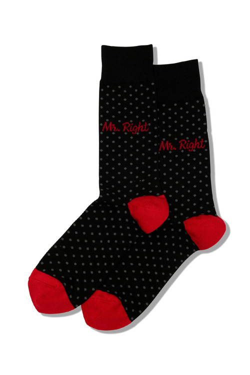 Hot Sox Mr Right Crew Socks HM100741 - Mens Socks - Front View - Topdrawers Underwear for Men