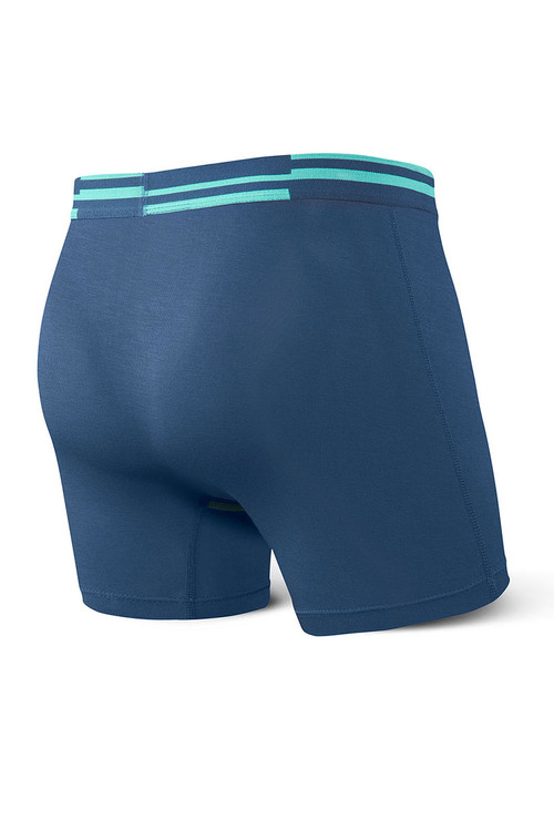 Saxx Vibe Boxer Brief | Blue/Alternating Stripe SXBM35-ALS - Mens Boxer Briefs - Rear View - Topdrawers Underwear for Men