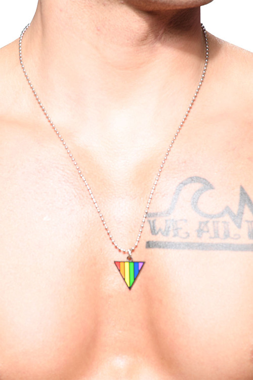 Andrew Christian Pride Triangle Necklace 8461 - Mens Necklaces - Front View - Topdrawers Accessories for Men
