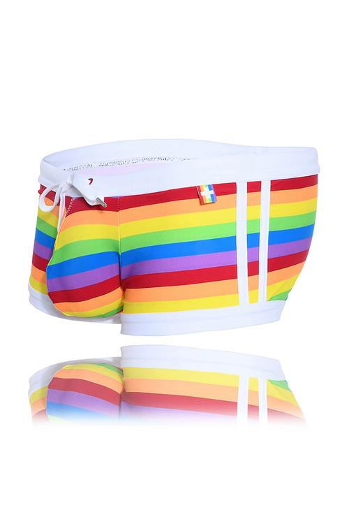 Andrew Christian Pride Stripe Swim Trunk 7746 - Mens Swim Trunks - Garment View - Topdrawers Swimwear for Men