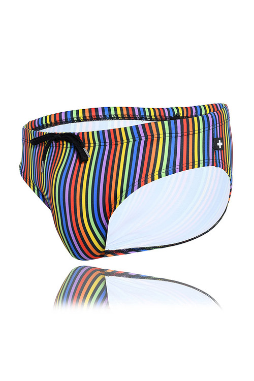 Andrew Christian Disco Pride Swim Bikini 7791 - Mens Swim Bikini Briefs - Garment View - Topdrawers Swimwear for Men