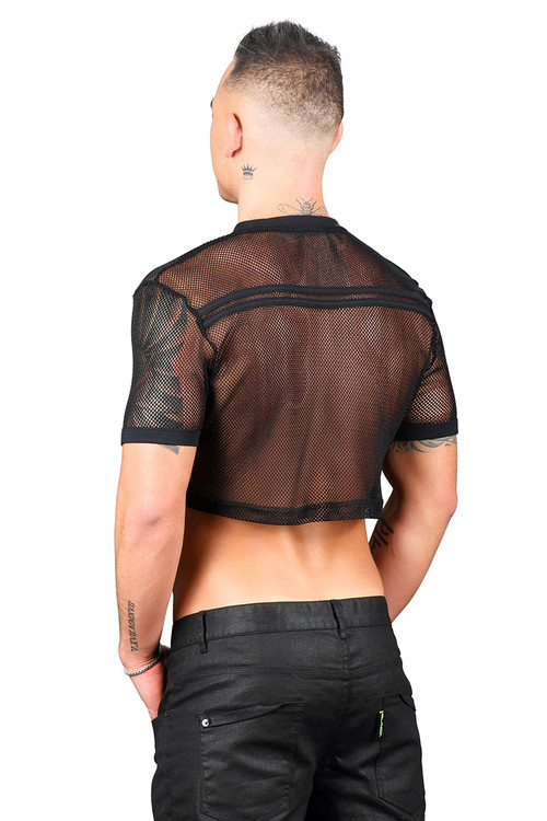 Andrew Christian Club Mesh Football Crop Tee 10292-BL Black  - Mens Crop Tops - Rear View - Topdrawers Clothing for Men