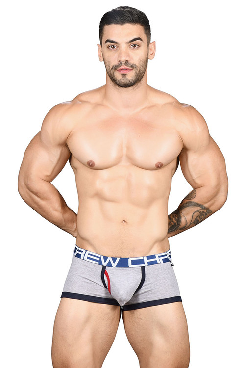 Andrew Christian Fly Tagless Boxer w/ Almost Naked 91438-HEA Heather Grey - Mens Boxer Briefs - Front View - Topdrawers Underwear for Men