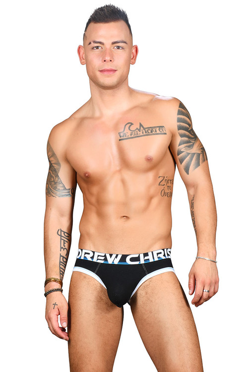 Andrew Christian Almost Naked Cotton Brief 91434-BL Black - Mens Briefs - Front View - Topdrawers Underwear for Men
