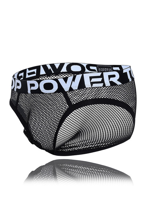 Andrew Christian Power Top Mesh Brief w/ Almost Naked 91456 - Mens Briefs - Garment View - Topdrawers Underwear for Men