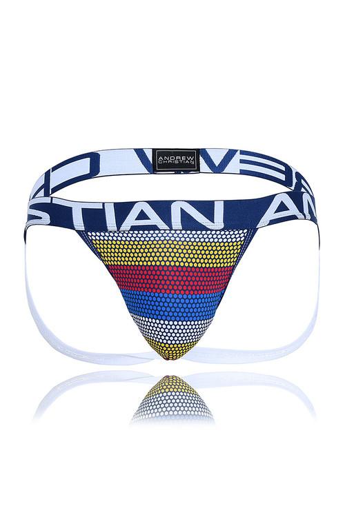 Andrew Christian Frequency Stripe Jock w/ Almost Naked 91464 - Mens Jockstraps - Garment View - Topdrawers Underwear for Men