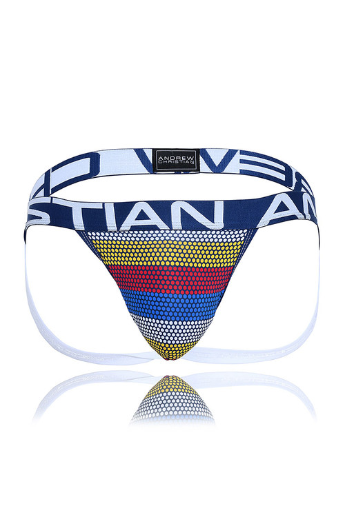 Andrew Christian Frequency Stripe Jock w/ Almost Naked 91464 - Mens Jockstraps - Garment View - Topdrawers Underwear for Men