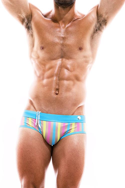 Modus Vivendi Sun Tanning Swim Brief BS2012-BU Blue  - Mens Bikini Swimsuits - Front View - Topdrawers Swimwear for Men